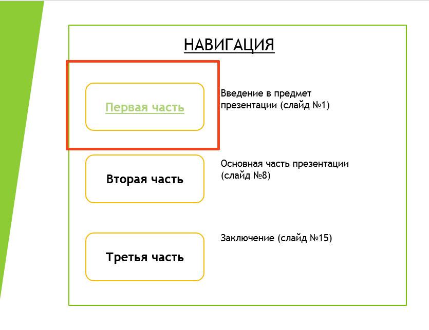 как вставить гиперссылку на слайд