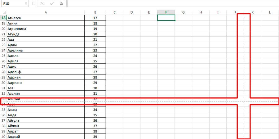 Мы вернулись обратно в рабочий режим MS Excel, а линии разметки печатной страницы остались на месте