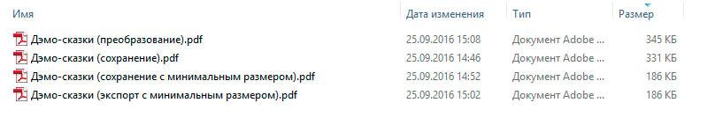 Размеры PDF созданного из Word