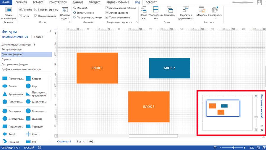 Панель изменения размера рабочей области MS Visio