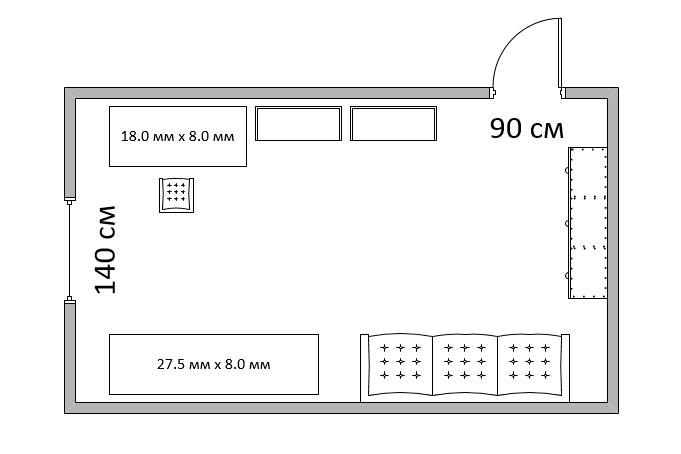 Вот так, схематично, я изобразил обстановку своей комнаты. По аналогии в MS Visio можно нарисовать любое помещение