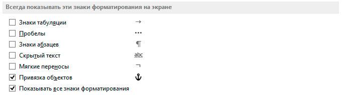 Знаки визуального форматирования в MS Word