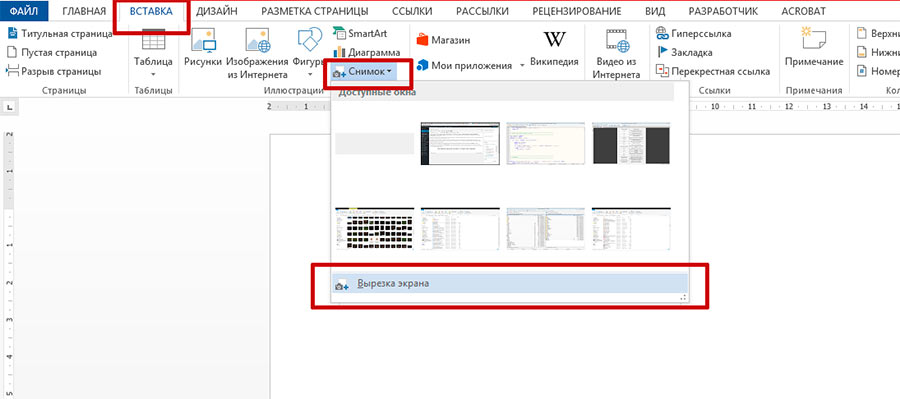 Вырезка экрана сделанная с помощью MS Word