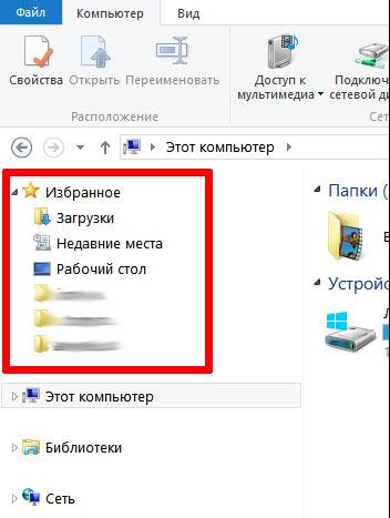 Список избранных папок в проводнике Windows